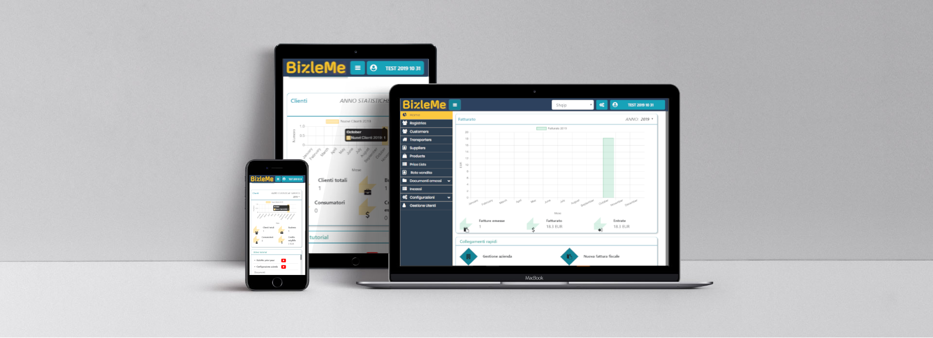 Immagini software gestionale online BizleMe da pc, tablet, smartphone. Applicazione che si adatta al dispositivo